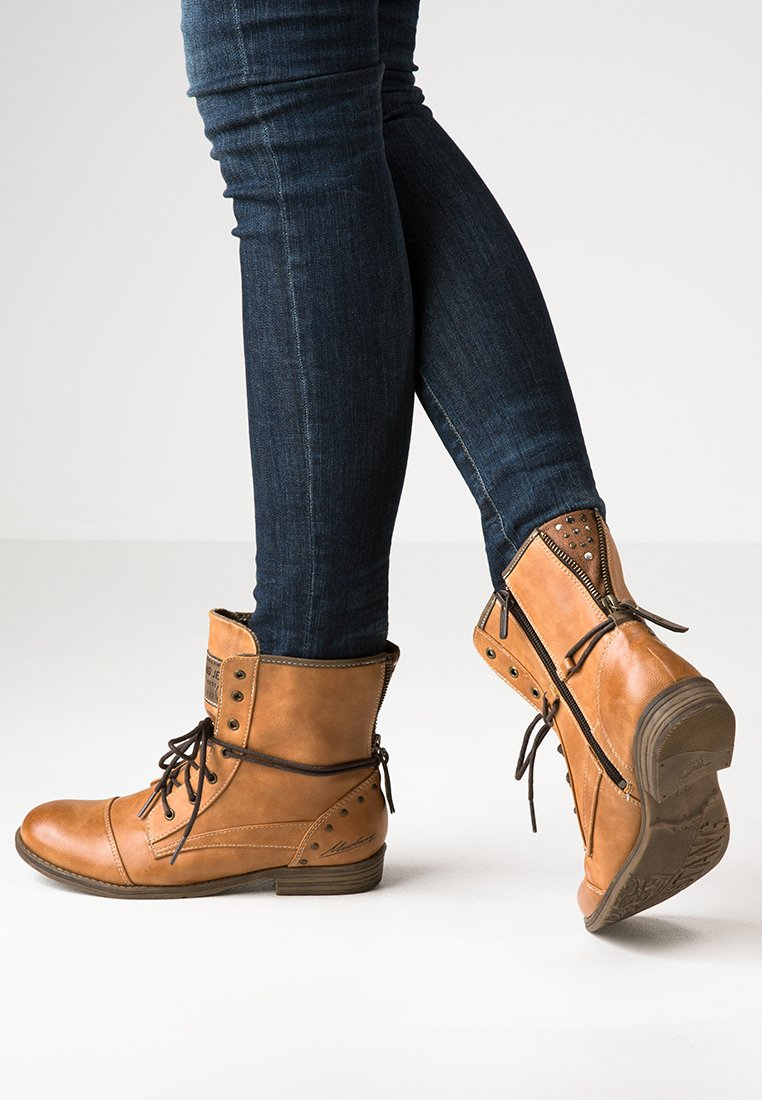 Mustang - Bottines à lacets - cognac