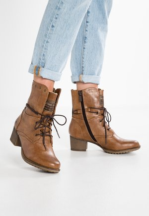 Cowboy/biker ankle boot - kastanie