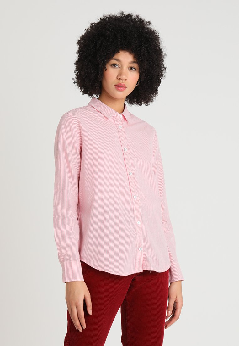 Mustang - STRIPPED BLOUSE - Button-down blouse - rosa himbeere