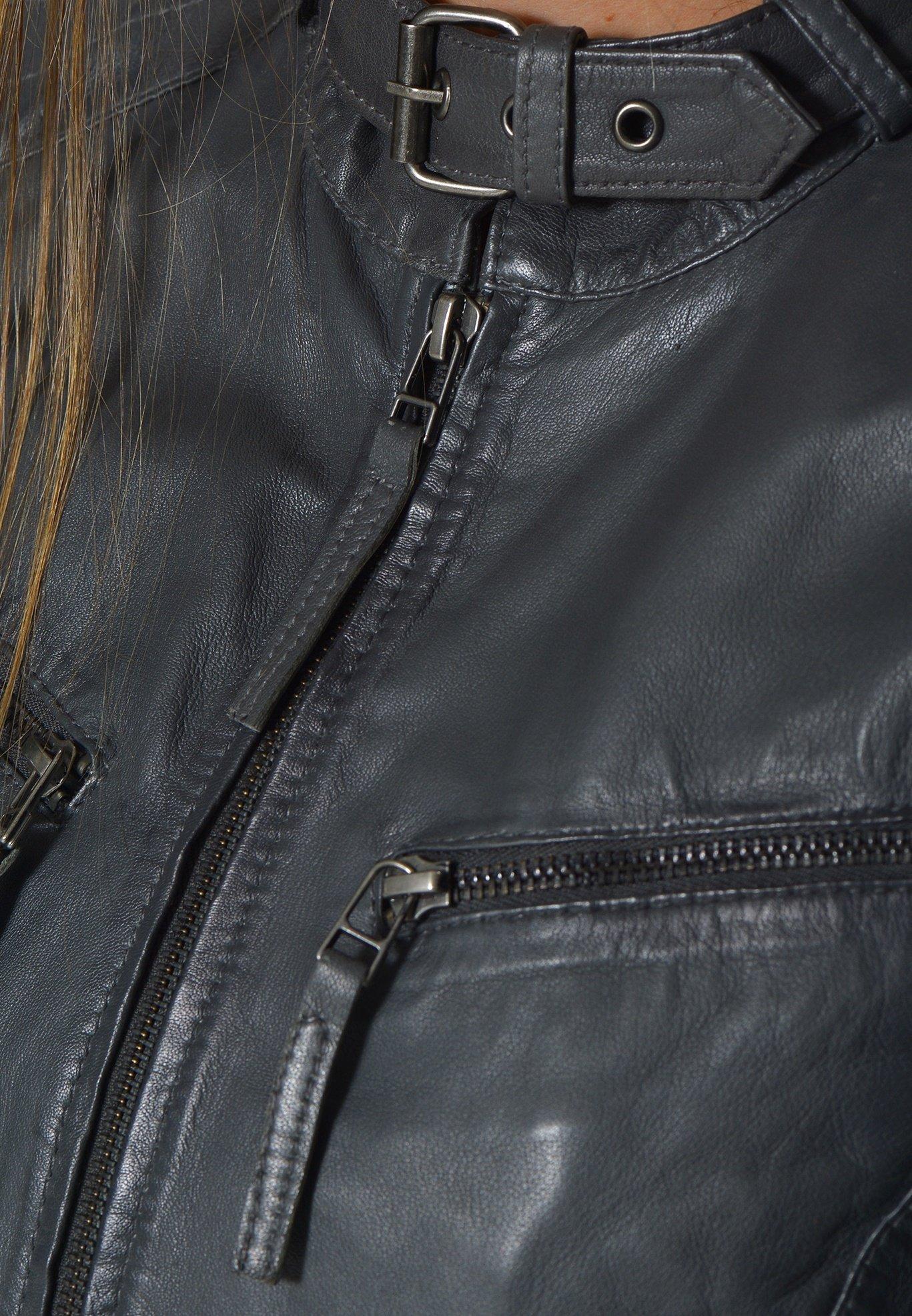 Mustang RYANA - Lederjacke - dark grey   Damenbekleidung billig