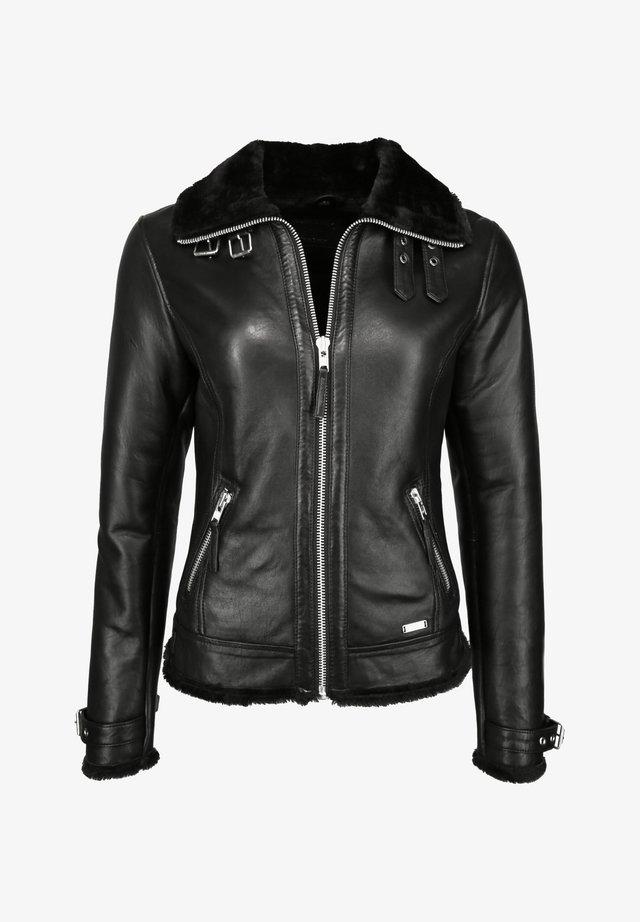 MIT HEMDKRAGEN  - Leather jacket - black