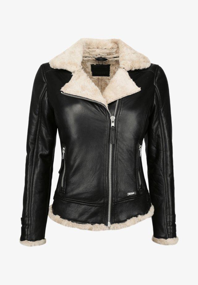MIT KUNSTFELL - Leather jacket - black