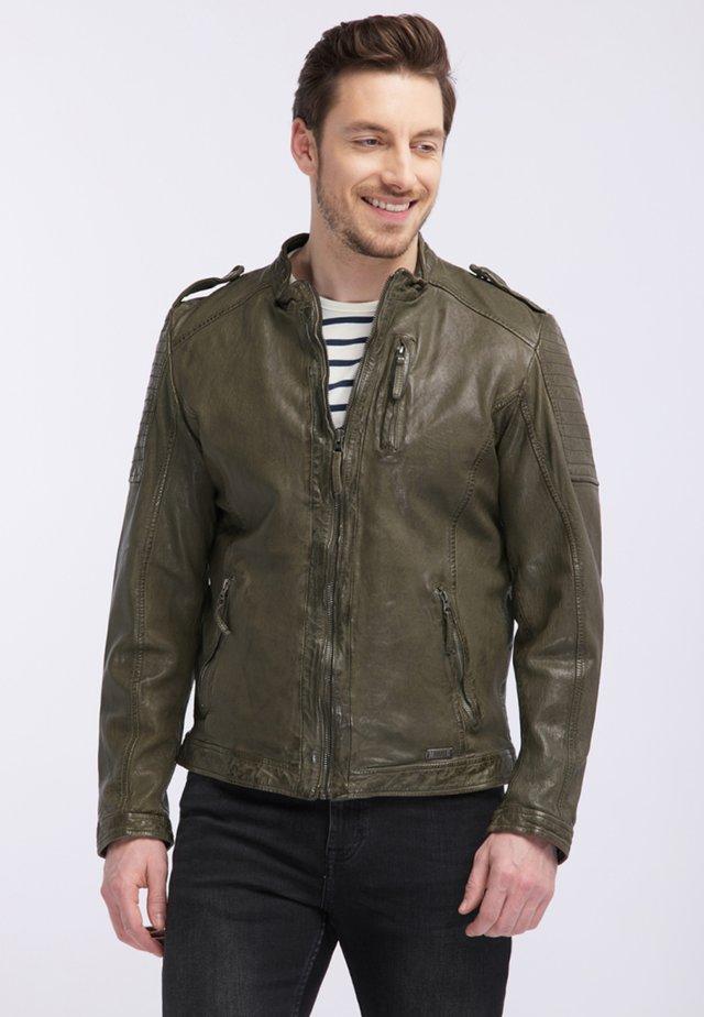 ARROS - Leather jacket - green