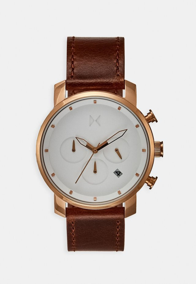 Chronograph watch - rose gold-coloured/natural tan