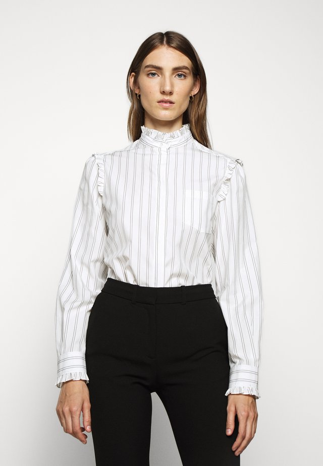 BRONZO - Button-down blouse - weiss
