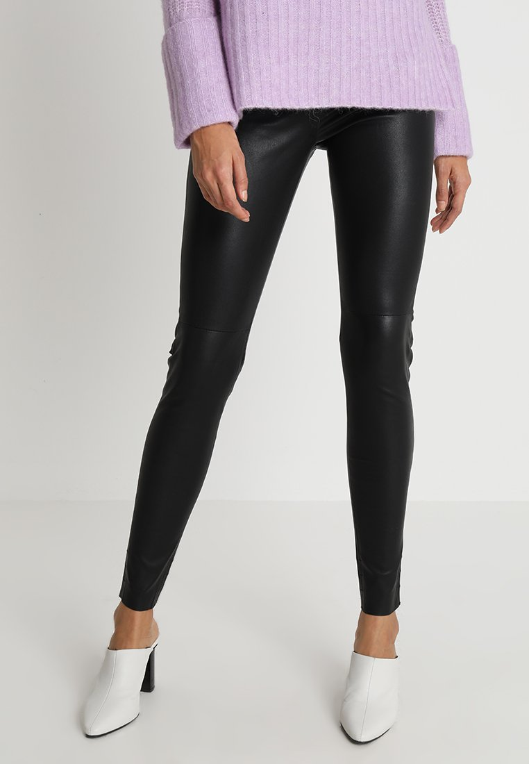 Mos Mosh - LUCILLE STRETCH - Leather trousers - black