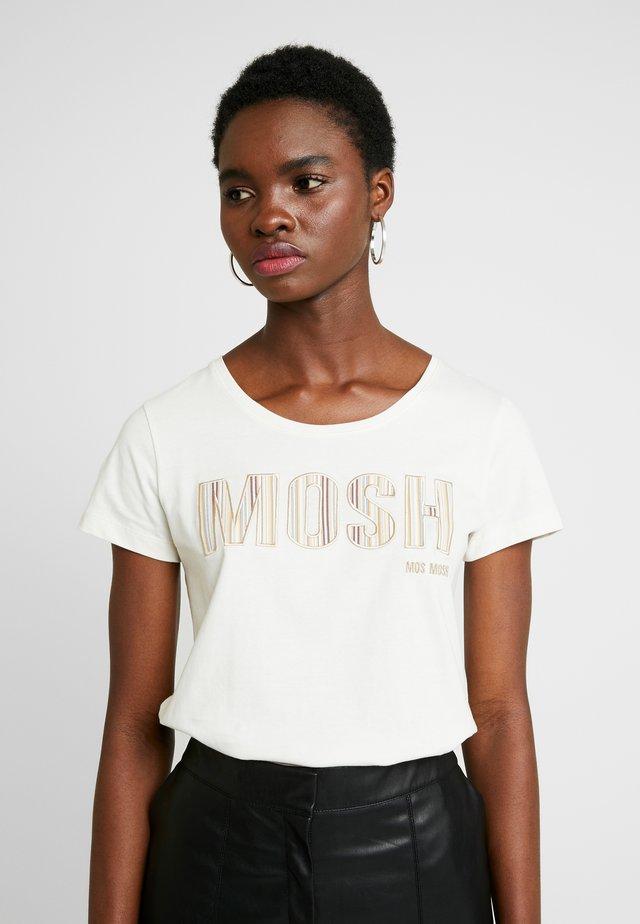 ARDEN LOGO EMBROIDERY TEE - T-shirt med print - ecru