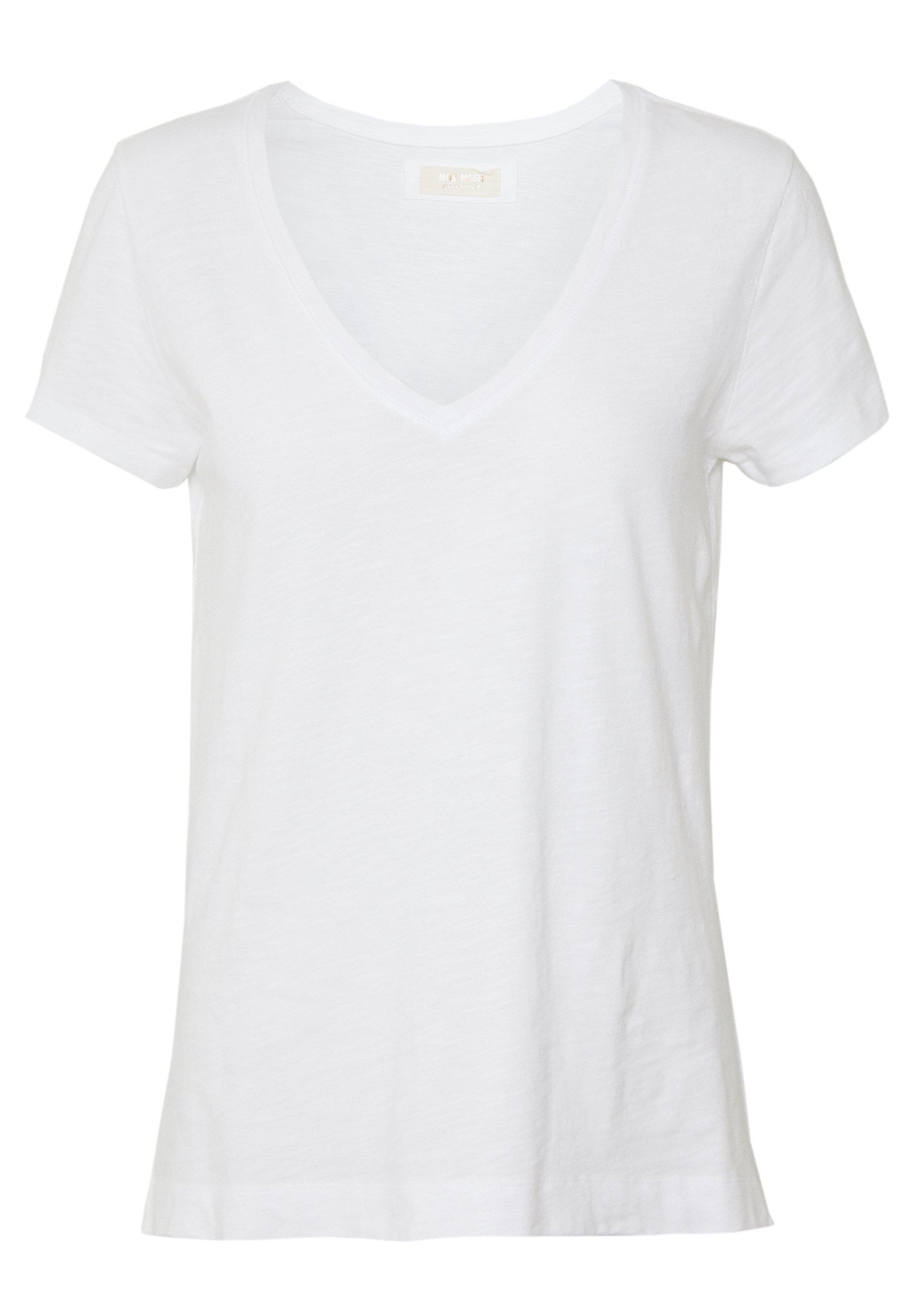 Mos Mosh Arden V Neck Tee - T-shirt Bas White