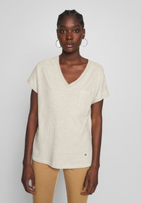 Mos Mosh - MAYA V-NECK TEE - Basic T-shirt - safari - 0