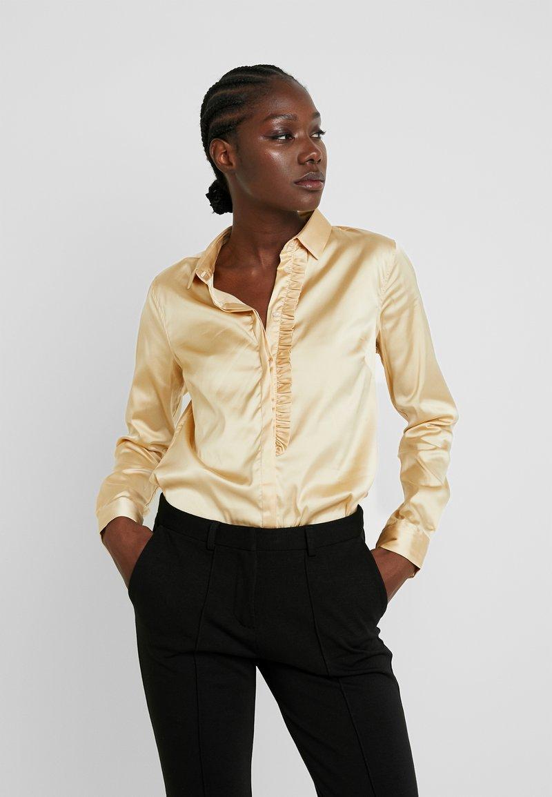 Mos Mosh - TILDA FRILL SATIN - Button-down blouse - beige