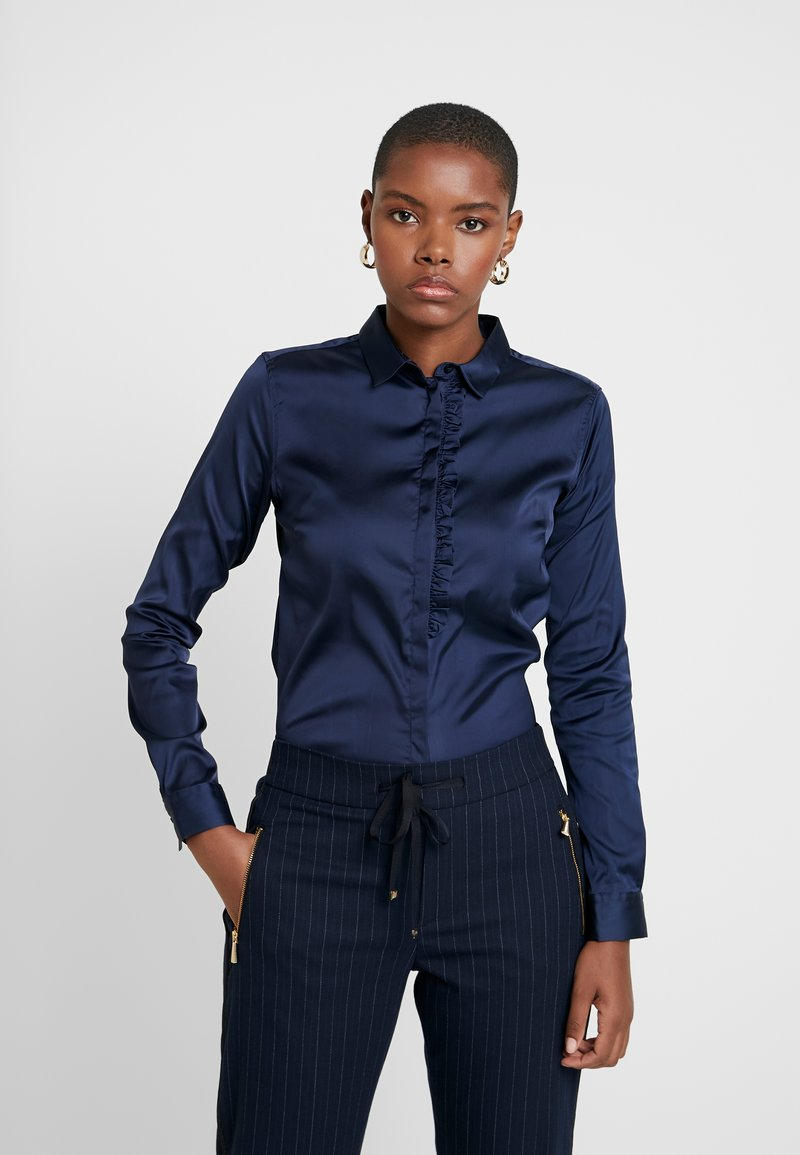 Mos Mosh - TILDA FRILL SATIN - Button-down blouse - dark blue
