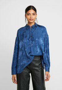 Mos Mosh - IRIS FLOWER BLOUSE - Blůza - dark blue - 0