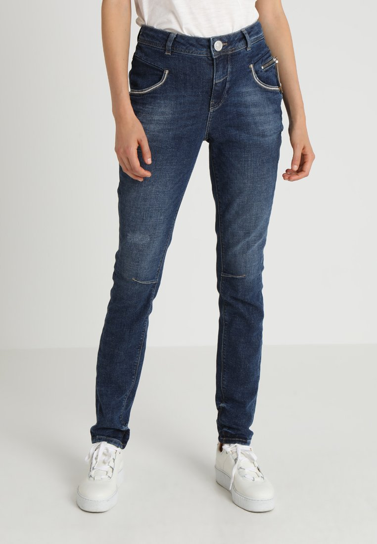 Mos Mosh - NELLY BLOCK - Slim fit jeans - blue denim