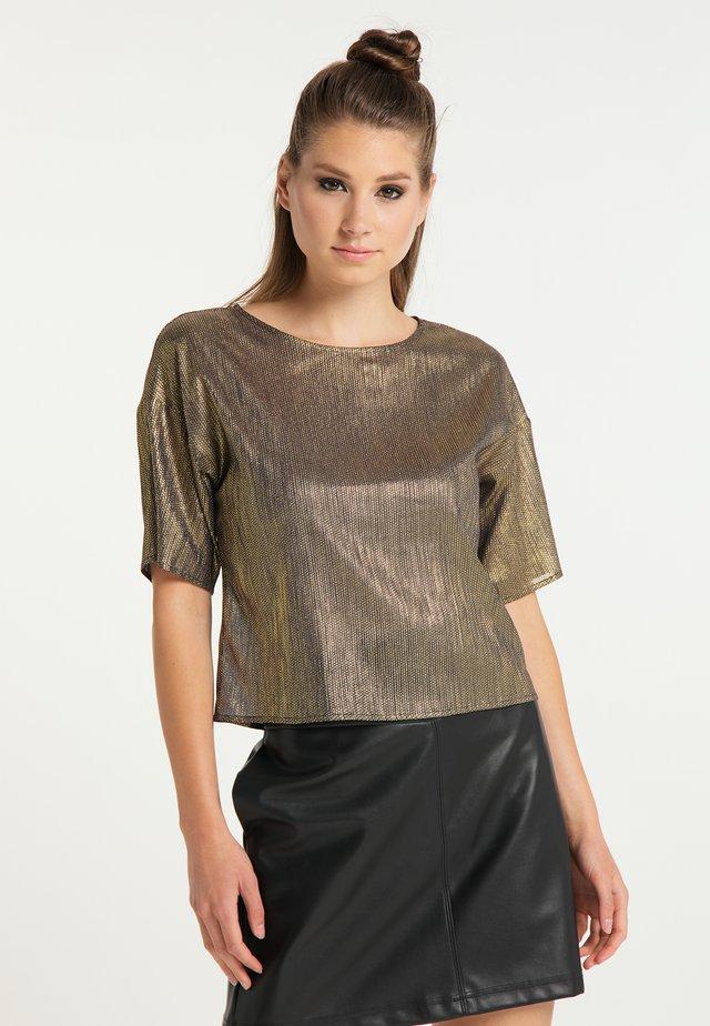 T-shirt z nadrukiem - schwarz gold
