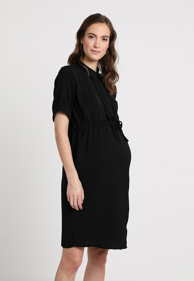 DRAWSTRING WAIST - Shirt dress - black