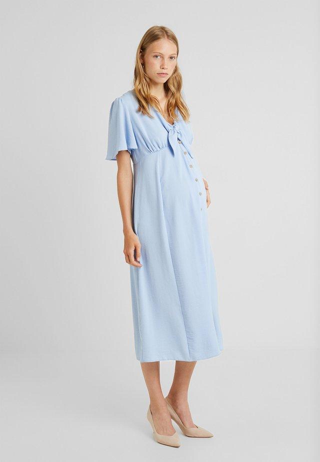 BONE TIE FRONT BUTTON - Długa sukienka - light blue