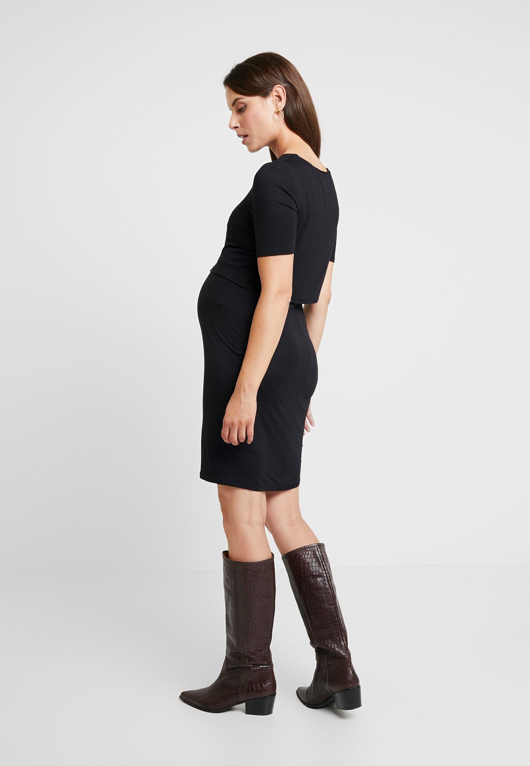 New Look Maternity NURSING DOUBLE LAYER  - Sukienka z dżerseju - black