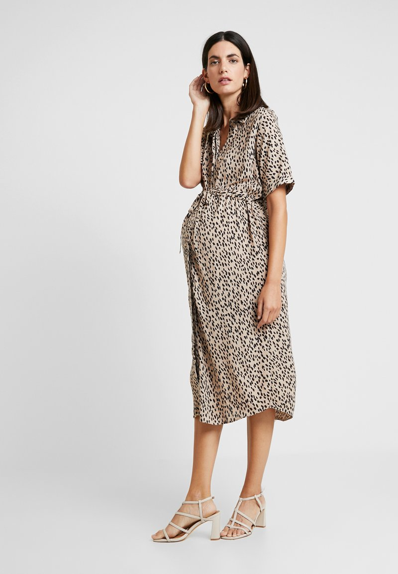 New Look Maternity - ELMA SPOT MIDI DRESS - Blusenkleid - brown