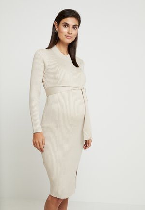 TIE WAIST DRESS - Gebreide jurk - cream