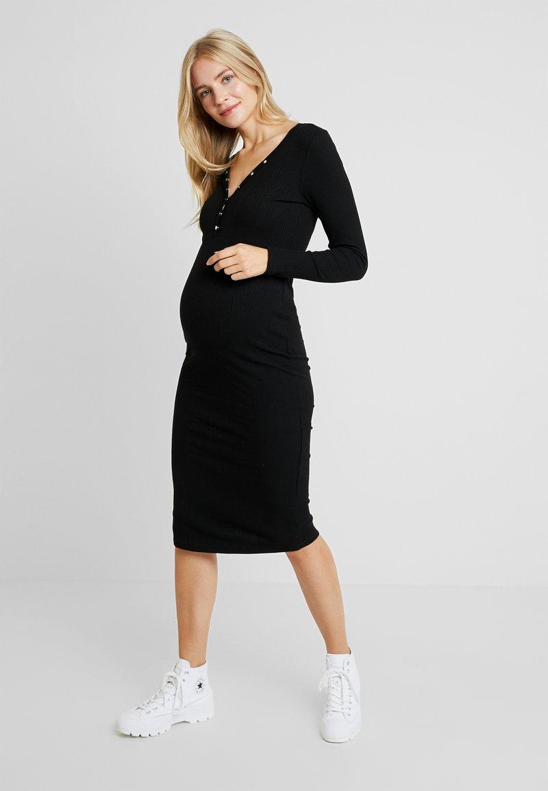 New Look Maternity - LONG SLEEVE POPPER VARY MIDI - Jerseykjoler - black