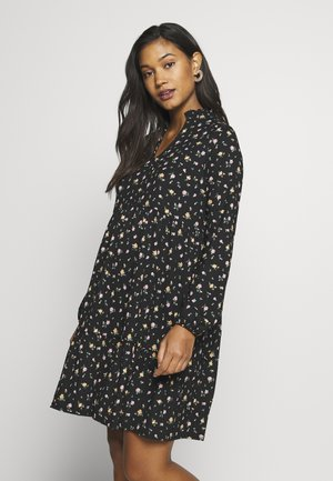 FLORAL CRINKLE V NECK SMOCK DRESS - Vestito estivo - black pattern