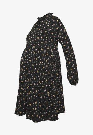 FLORAL CRINKLE V NECK SMOCK DRESS - Vestido informal - black pattern