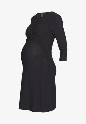 LESS TWIST FRONT BODYCON - Žerzejové šaty - black