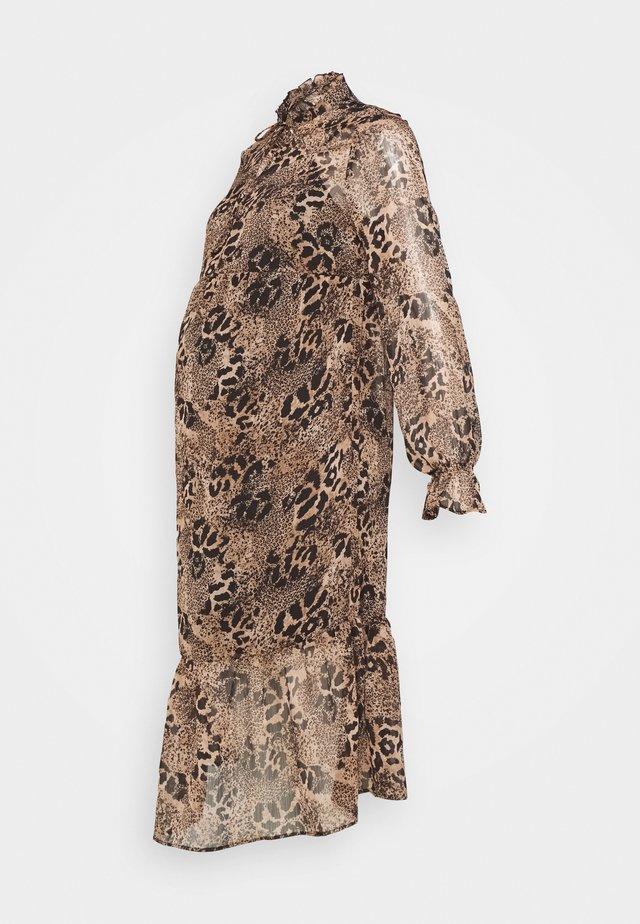 TIE NECK PRINT DRESS BELINDA - Korte jurk - brown
