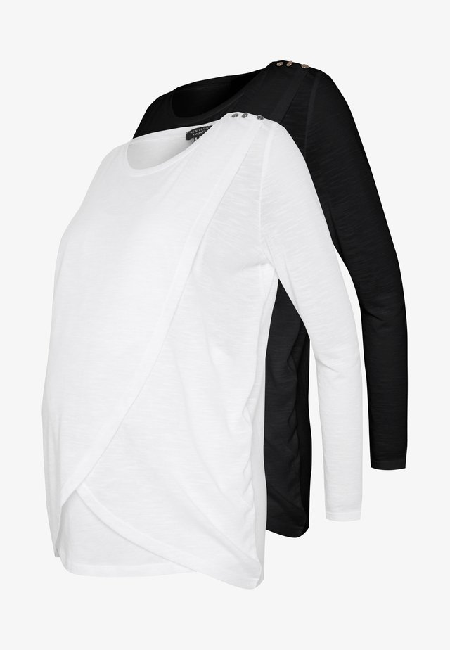 WRAP NURSING 2 PACK - Top s dlouhým rukávem - black/white