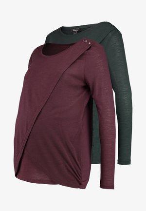 NURSING 2 PACK - Long sleeved top - dark green/dark burgundy