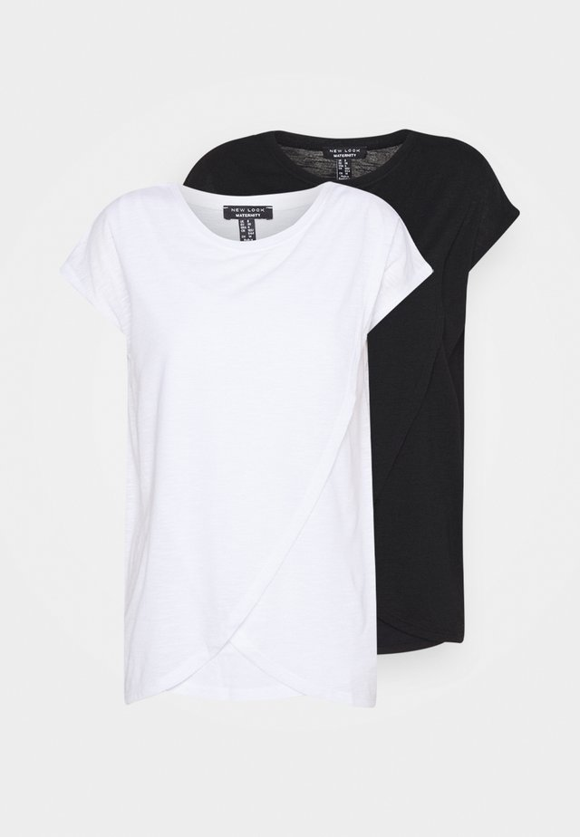 NURSING WRAP TEE 2PACK - Print T-shirt - black/white