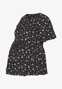 New Look Maternity - DITSY PEPLUMTOP - T-shirt z nadrukiem - black - 0
