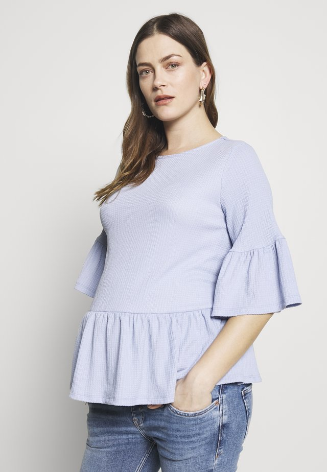 FLUTTER SLEEVE PEPLUM TEXTURED TOP - Triko s potiskem - light blue