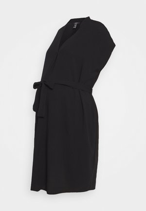 V NECK PATCH BELTED - Vestido informal - black