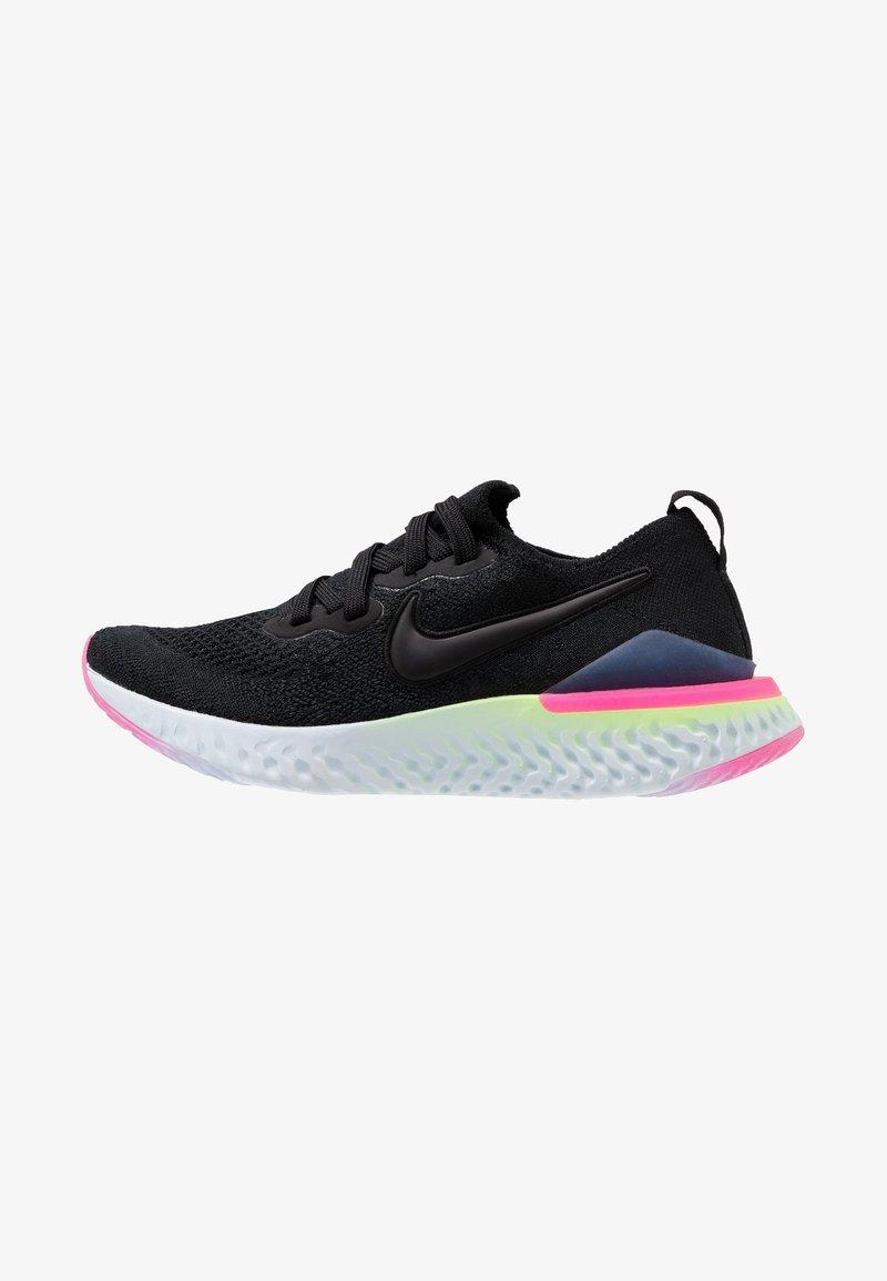 Nike Performance - EPIC REACT FLYKNIT 2 - Neutrale løbesko - black/sapphire/lime blast/hyper pink/blue tint