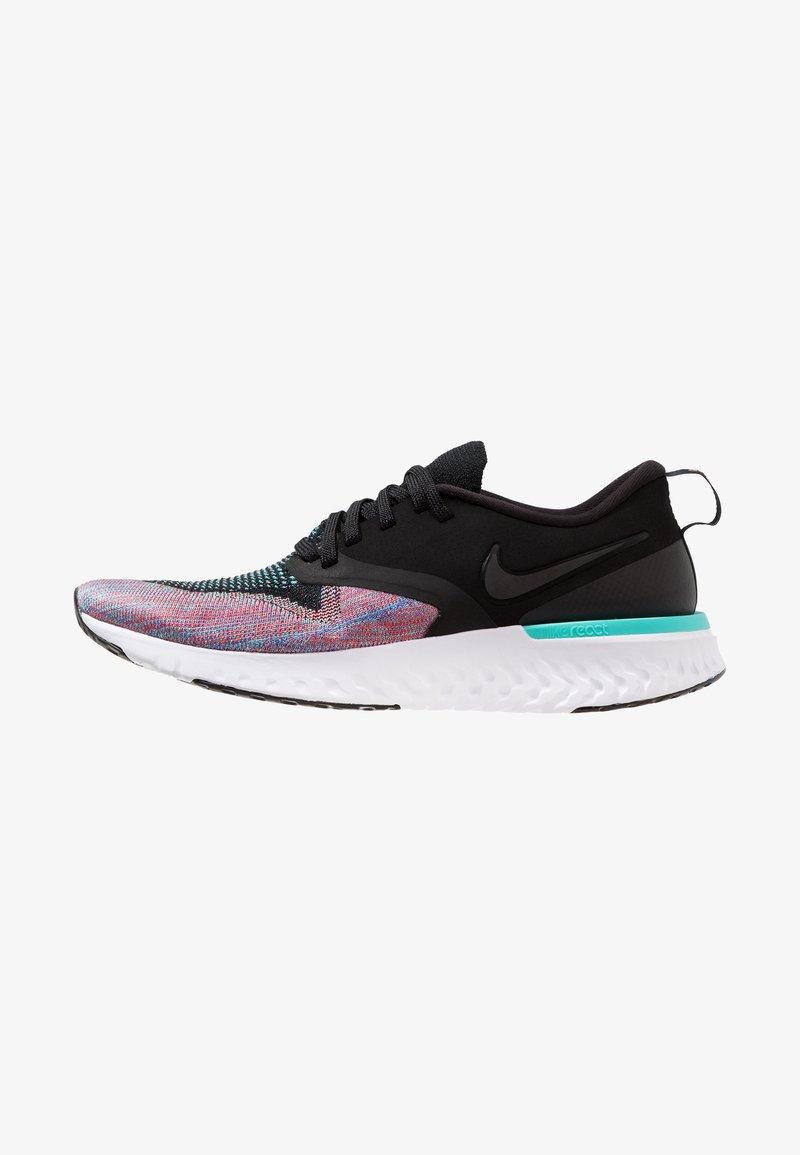 Nike Performance - ODYSSEY REACT 2 FLYKNIT - Neutral running shoes - black/hyper jade/ember glow/sapphire