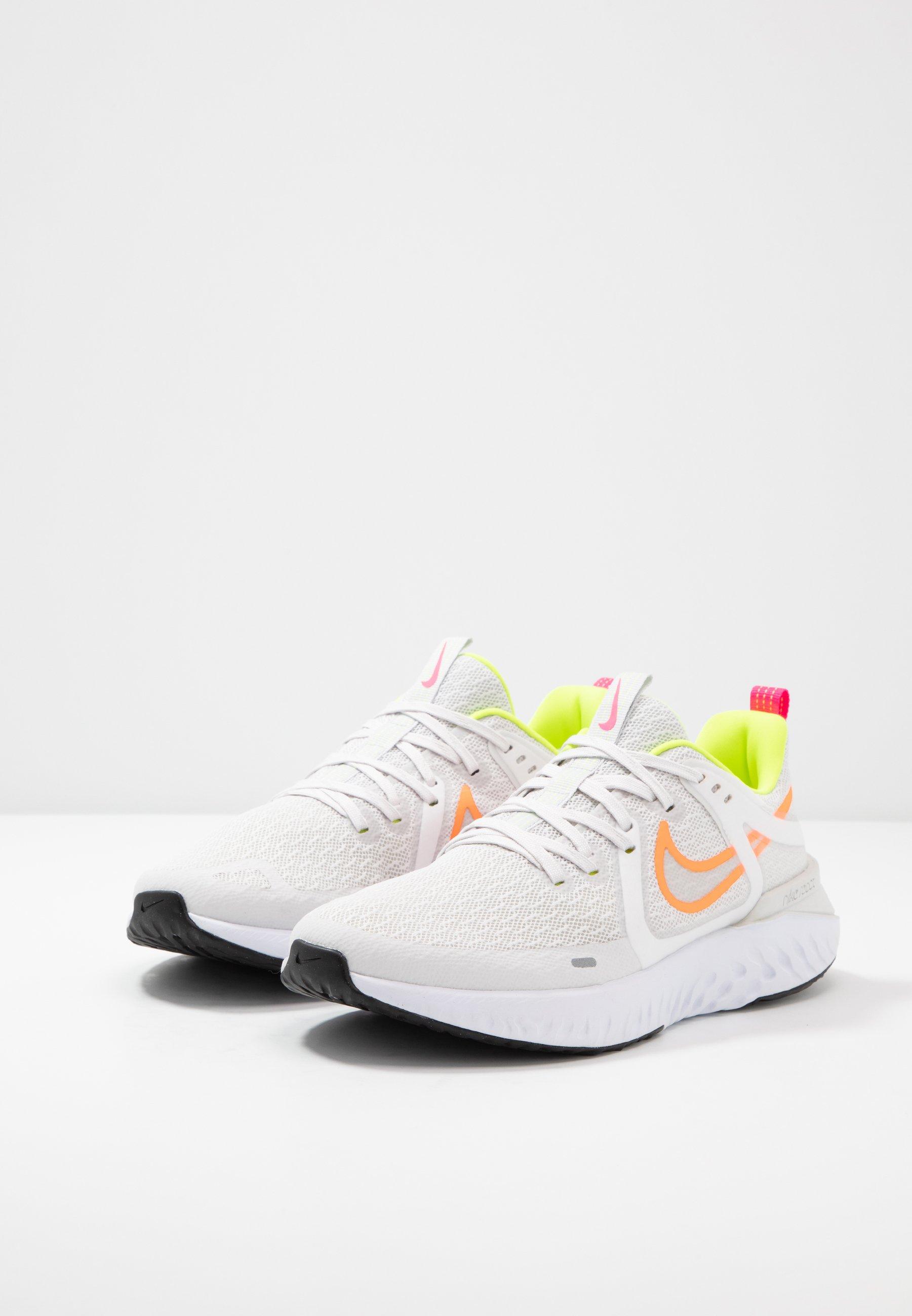 Nike Performance LEGEND REACT 2 - Neutral running shoes - platinum tint/white/total orange/lemon/pink blast