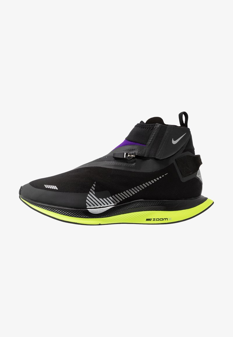Nike Performance - ZOOM PEGASUS TURBO SHIELD WP - Neutral running shoes - black/metallic silver/voltage purple