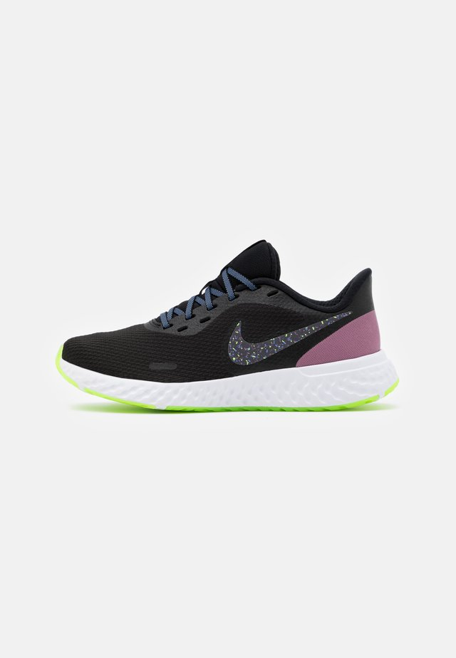 REVOLUTION 5 - Neutral running shoes - black/metallic dark grey/plum dust/royal pulse/ghost green/white