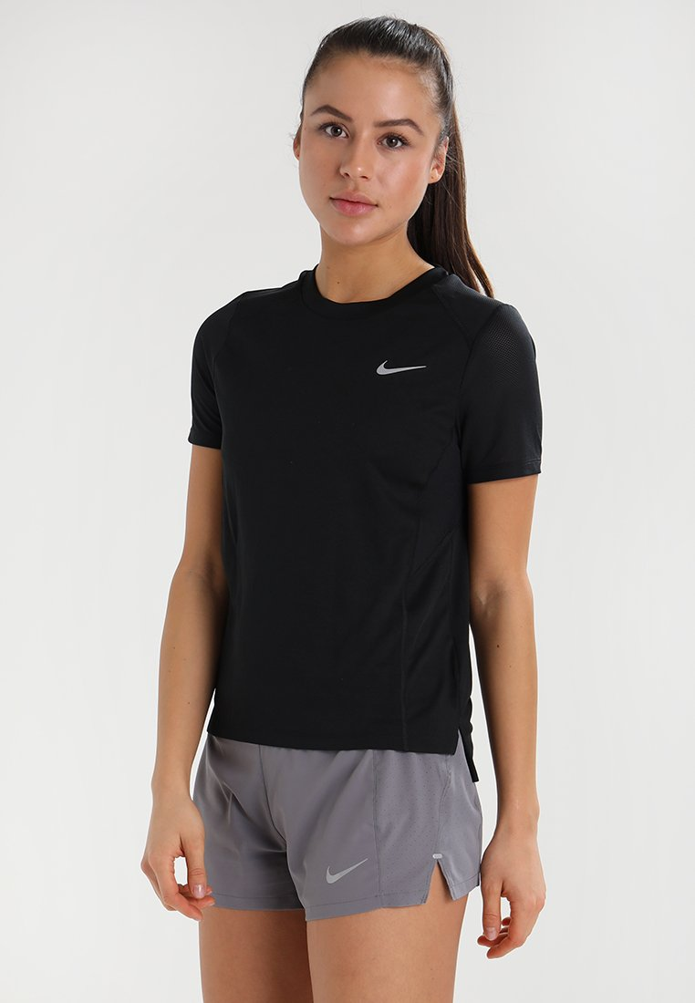 Nike Performance - DRY MILER - T-Shirt basic - black/reflective silver