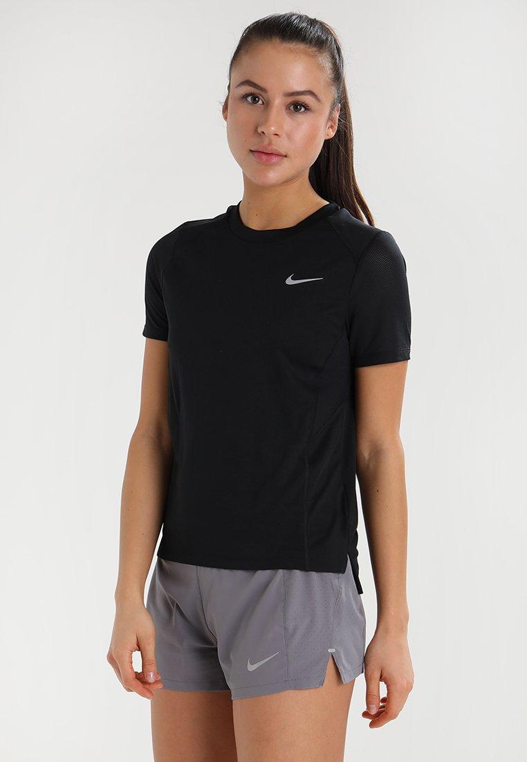 Nike Performance - DRY MILER - T-shirt basique - black/reflective silver