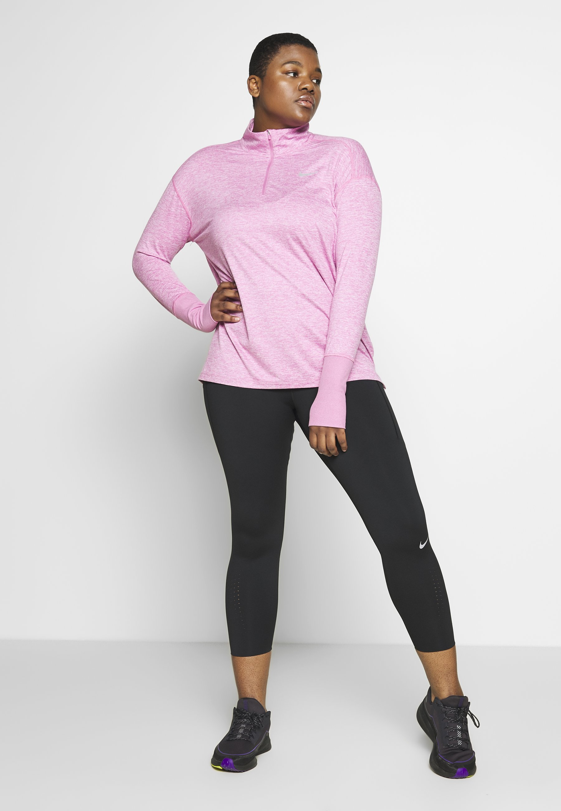 Nike Performance W Nk Elmnt Top Hz Plus - Sports Shirt Magic Flamingo/heather/reflective Silver