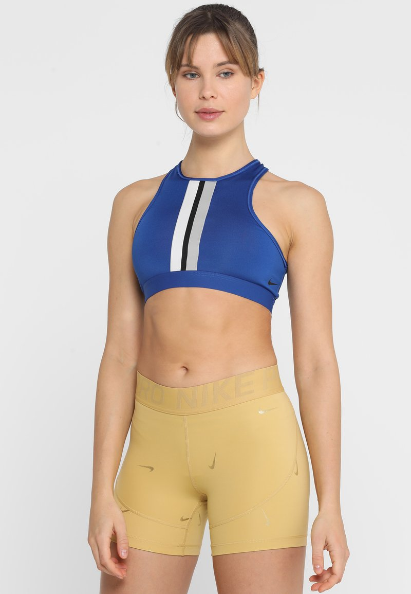 Nike Performance - GYM ELASTIC BRA - Sports bra - indigo force/atmosphere grey/white/black