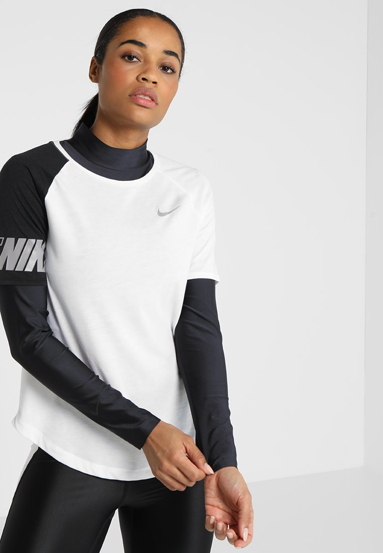 Nike Performance - ICON CLASH TOP MILER  - T-Shirt print - white/black/atmosphere grey/silver