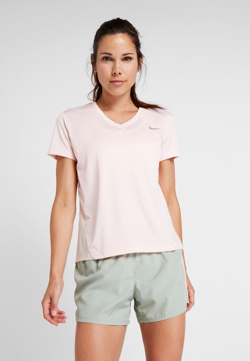 Nike Performance - MILER V NECK - Koszulka sportowa - echo pink/reflective silv