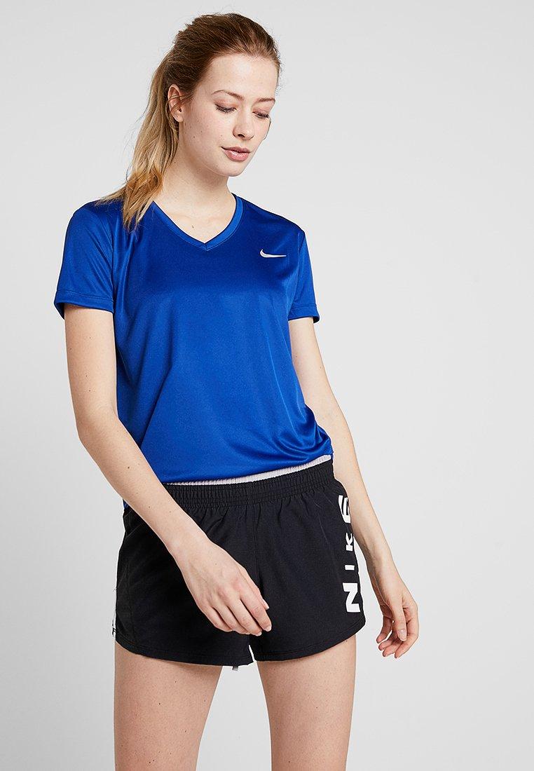 Nike Performance - MILER V NECK - Koszulka sportowa - indigo force/reflective silver