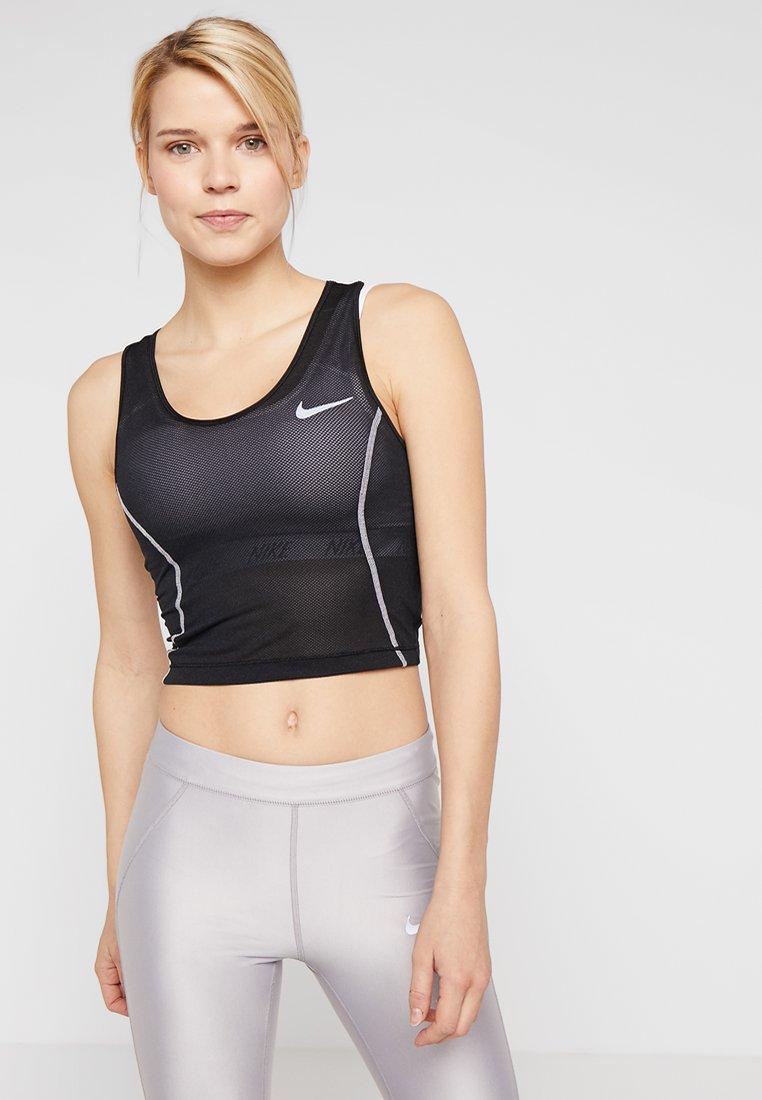 Nike Performance - MILER TANK CROP - Sports shirt - black/white/reflective silver