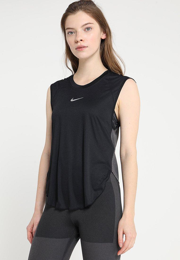 Nike Performance - CITY SLEEK TANK COOL - Koszulka sportowa - black/thunder grey/silver