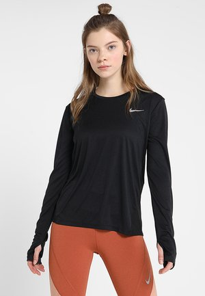 MILER TOP - Sports shirt - black/reflective silver
