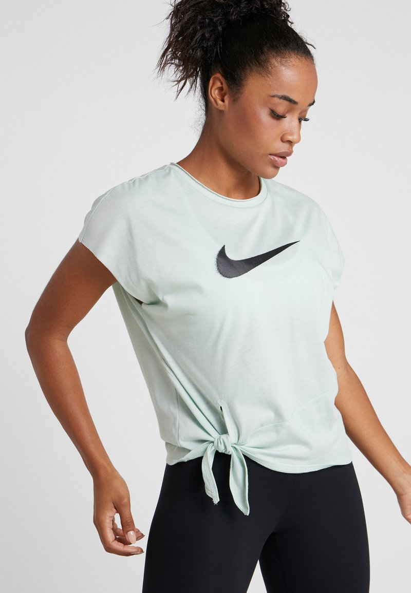 Nike Performance - DRY SIDE TIE - Print T-shirt - pistachio frost/black